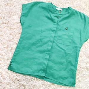 Vintage Green Linen Button-Up Short Sleeve Shirt